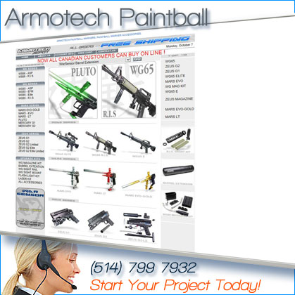 website designed for armotech paintball